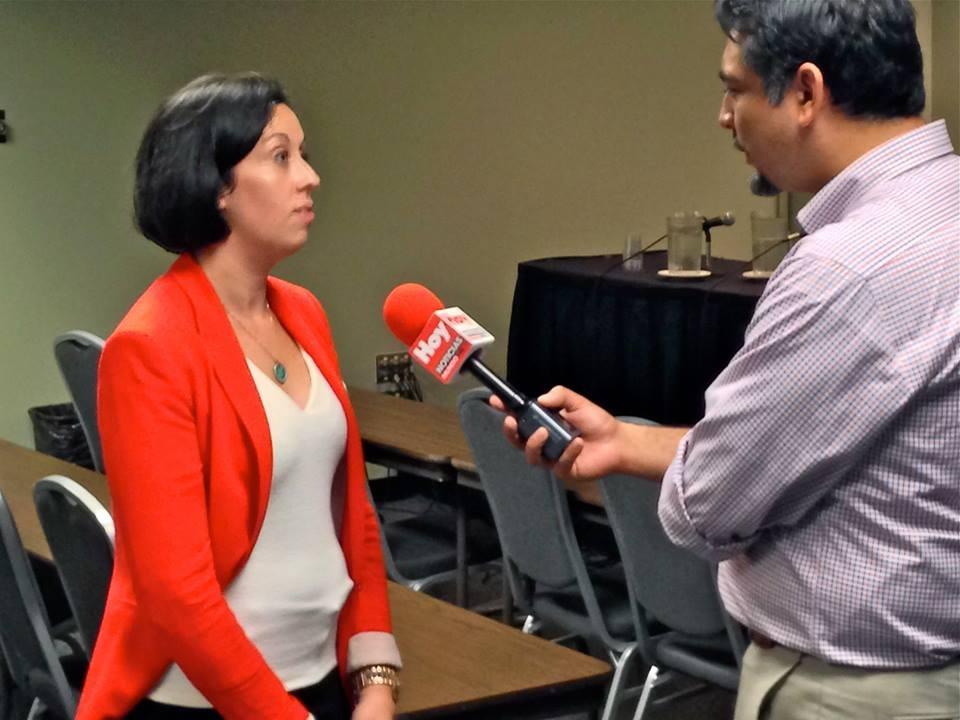 Supervisory Attorneys, Monica Eav and Kathleen Vannucci, being interviewed by Mundo Fox