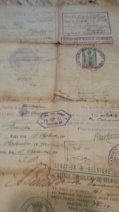 The back of Mr. Lawee's mother's grandparent's entry papers, showing how many countries they had to pass through before arriving in the U.S.